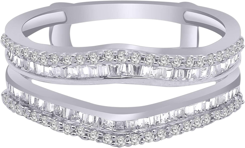 1 2 Ct Round Baguette Shape Gold service Diamond Enh 14K Super sale White Natural