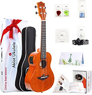 "Aklot Electric Tenor Ukulele 26"" Uke Solid Mahogany Ukelele For Professional Beginners With Free Online Lesson Uke(Bag Pic..."