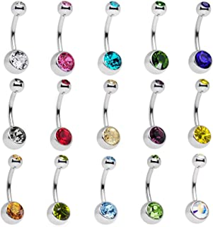 15 Pieces Crystal Navel Belly Button Ring Body Piercing Jewelry Surgical Stainless Steel Bar Belly Ring