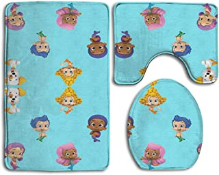 Flypigs99 Bubble_Guppies Soft Comfort Flannel Bathroom Mats,Anti-Skid Absorbent Toilet Seat Cover Bath Mat Lid Cover,3pcs/Set Rugs