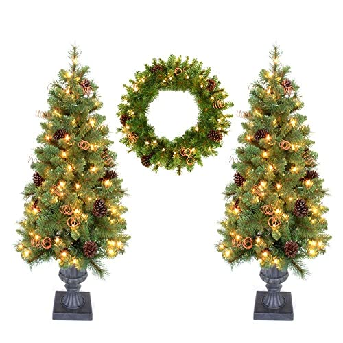 Pot Tree Artificial Christmas Tree and 24 in. - Entrance Christmas Trees With Lights: Amazon.com