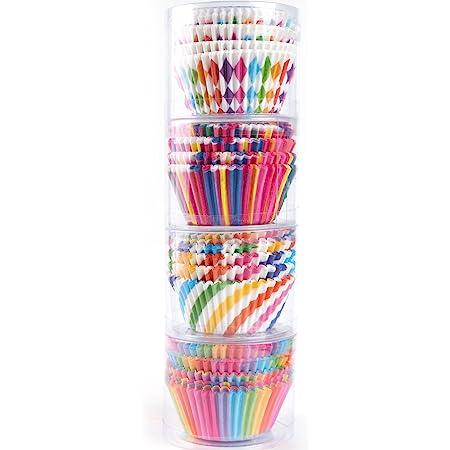 STARUBY Caissettes à Cupcakes en Papier, Lot de 400 Moules de Cuisson Antiadhésif et Jetables, Arc en Ciel Doublures Moules à Muffins et Cupcakes Taille Standard, 4 Styles