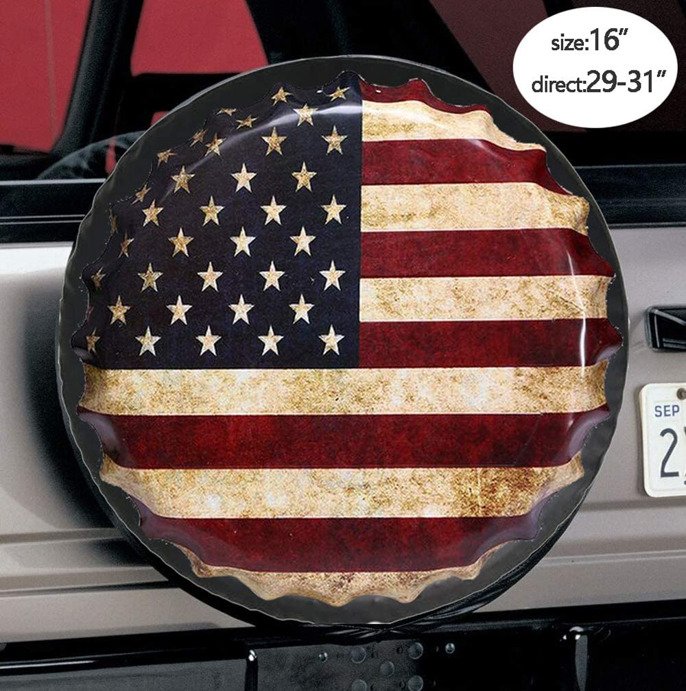 17 for Diameter 31-33 RV,SUV and Many Vehicle 16 17 Suzuki,Trailer US American Flag Leather Waterproof Wheel Tire Cover Fit for Jeep,Ford,Wrangler,Campers,Toyota CRV RAV4