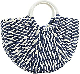 Straw Handbag, Women's Rattan Handbag Summer Beach Wattled Top Handle Bag Handwoven Tote Bag