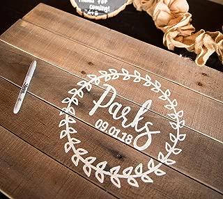 Rustic Laurel Leaf Wreath Wedding Guest Book Alternative Wood Sign Personalized W14