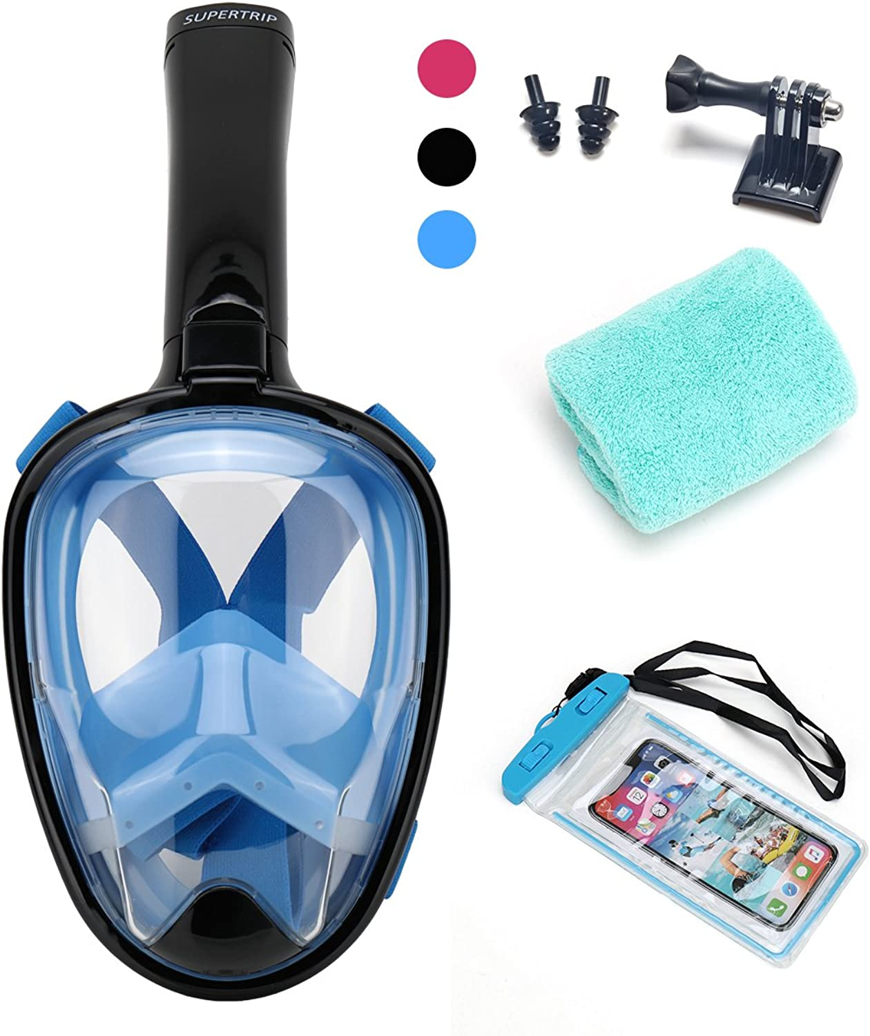 Supertrip Panoramic Full Face Snorkel Mask,AntiFog and AntiLeak FreeDiving Scuba Snorkeling Mask,Designed for Men and Women blueee Black L XL