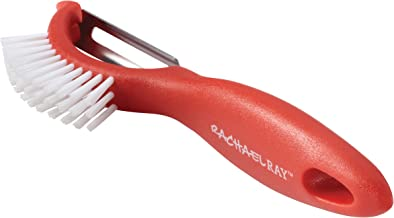 Rachael Ray Kitchen Tools and Gadgets Vegetable/Fruit Peeler with Brush, 3-in-1, Red