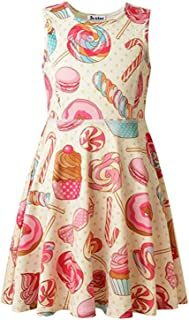 Girls Summer Sleeveless Dresses Printing Round Neck Casual Kids Holiday Party Dress 4-9Years