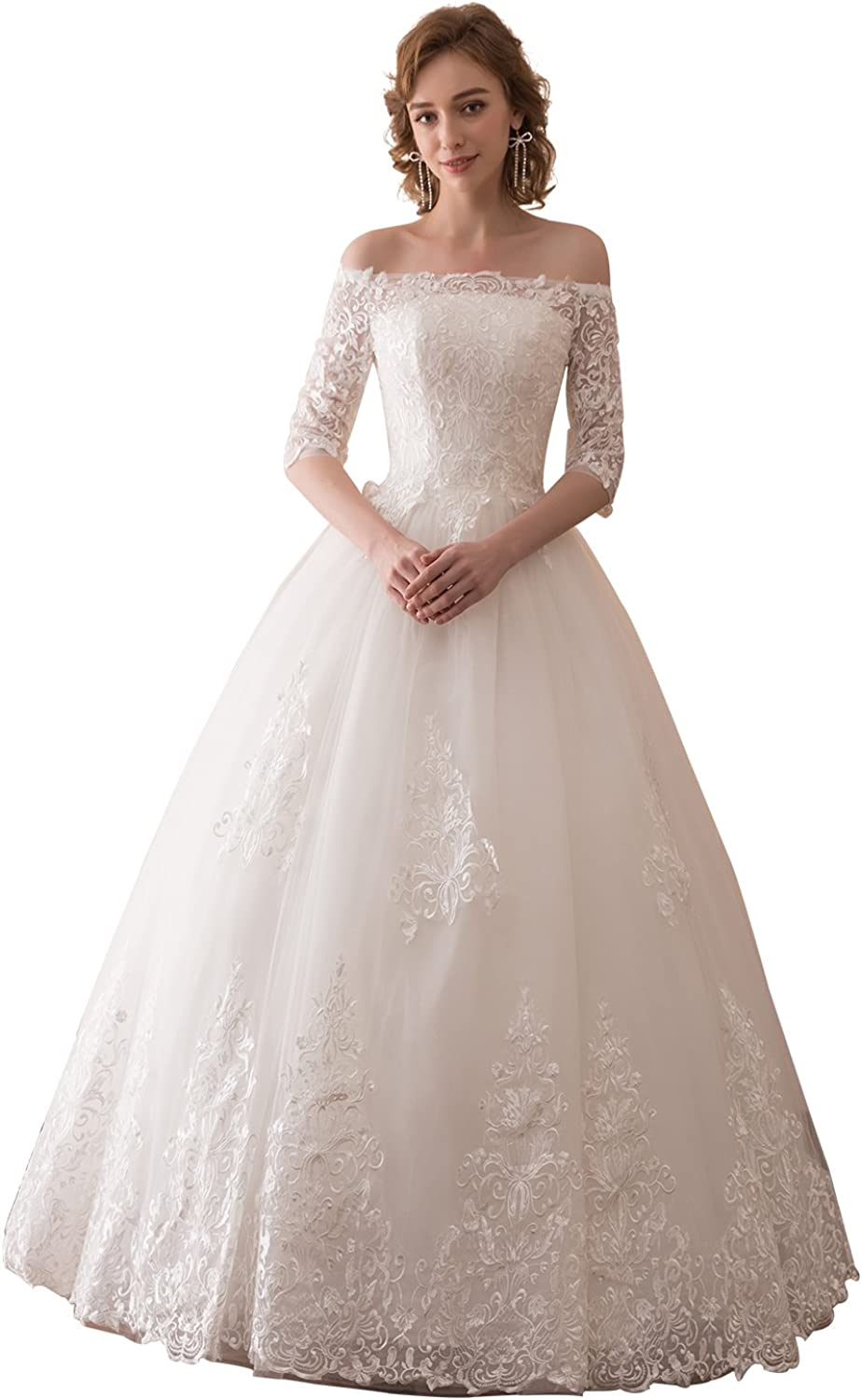 Epinkbridal Boat Neck Off Shoulder Wedding Dress with Sleeves Princess Ball Gown Bridal Gowns