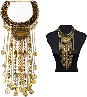 Statement Necklace, Beads Coin Fringe Statement Necklace Bohemian Ethnic Tribal Boho