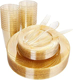 WDF 150pcs Gold Plastic Plates with Disposable Plastic Silverware&Gold Cups- Gold Glitter Design include 25 Dinner Plates,25 Salad Plates,25 Forks, 25 Knives, 25 Spoons& 10oz Plastic Cups (Glitter)