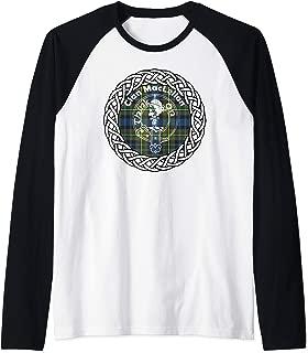 Maclellan surname last name Scottish Clan tartan badge crest Raglan Baseball Tee