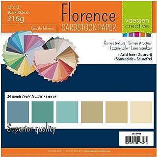 Vaessen Creative Florence Papier Cartonné, Couleurs de la Plage, 216g, Carré, 30,5 x 30,5 cm, 24 Feuilles, Surface Texturé...