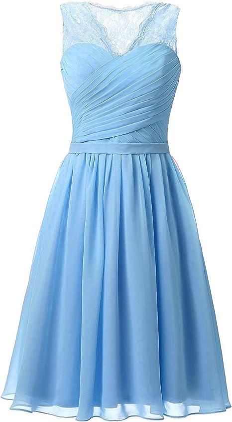 Aurora Dresses Damen Abendkleider Elegant Kurz Partykleider Chiffon Ballkleid Brautjungfern Kleider Amazon De Bekleidung