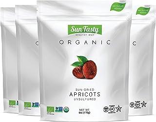 Sun Tasty Organic Sun-Dried Apricots, Vegan, Gluten-Free, USDA Certified Organic, Non-GMO, No Added Sugar, No Sulfur, No P...