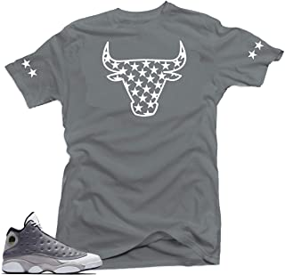 54c028144d9 Jordan 13 Atmosphere Grey Retro Match Shirts-Bull Stars Grey Tee