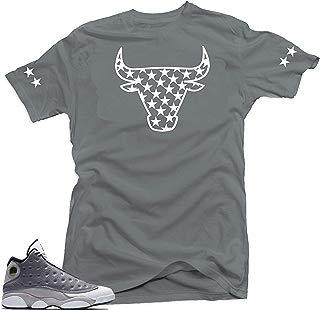 Jordan 13 Atmosphere Grey Retro Match Shirts-Bull Stars Grey Tee