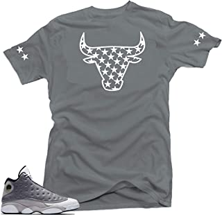 Jordan 13 Atmosphere Grey Retro Match Shirts-Bull Stars Grey Tee