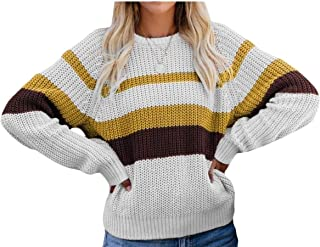 Womens Long Sleeve Contrast Color Knit Pullover Sweater Blouse Tops