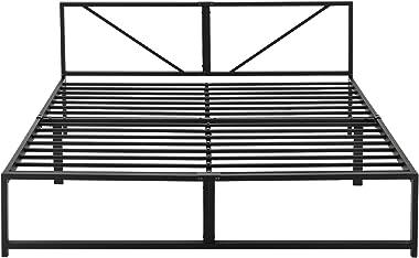 Cadre de Lit en Métal Robuste Construction Solide avec Lattes Métalliques et Matelas à Mousse à Froid Lit Double Design Éléga
