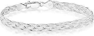 925 Sterling Silver Italian 6-Strand Diamond-Cut 7mm Braided Herringbone Chain Bracelet for Women Teen Girls 6.5, 7.25, 8 Inch 925 Italy