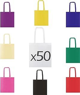 My Custom Style Stock 50 Borse Shopper Cotone 38x42cm,HQ, Manici 70cm assortite