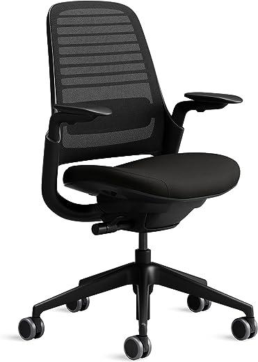Steelcase Series 1 Bürostuhl mit Netzrücken in Schwarz und Sitzbezug in Onyx Schwarz
