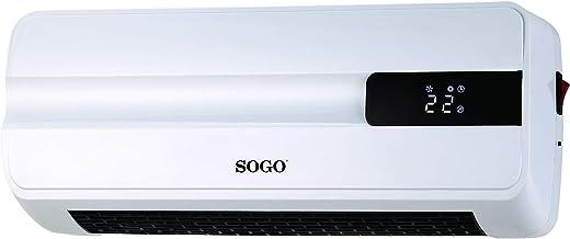 SOGO Calefactor de Pared Split PTC, Blanco, 41.5 x 16.5 x 12.8 cm