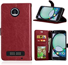 DECVO Moto Z Play Case, Retro Vintage Leather Wallet Case for Moto Z Play 2016, Classic Magnetic Snap Folio Flip Card Cover with Stand Function for Motorola Moto Z Play Droid