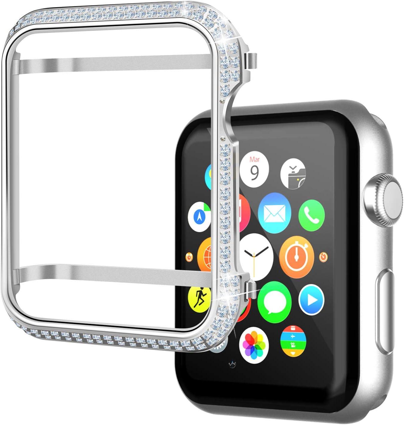 Srotek Diamond Watch Case Handcrafted Zircon Watch Bumper Gold-Plated 44mm Watch Bezel Cover Compatible with Apple Watch Series 4 for Men/Women (44mm,Silver)