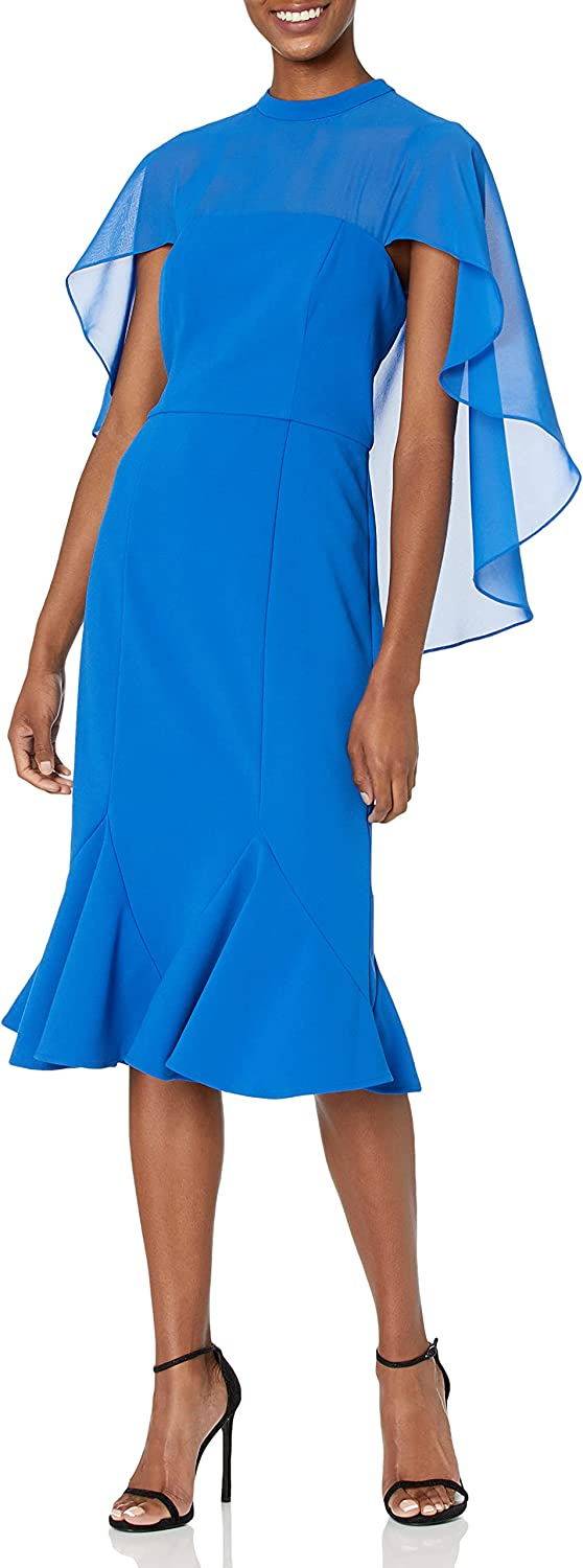 JS Collections Women's Stretch Crepe Cocktail Dress with Trumpet Skirt and Chiffon Capelet