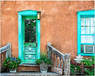 Paint By Numbers Santa Fe Turquoise Door and Window on Stucco Wall Digital Coloring Oil Painting Canvas With Inner Frame H...