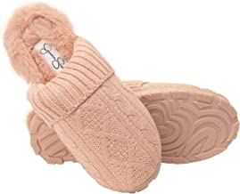 Jessica Simpson Womens Soft Cable Knit Slippers with Indoor/Outdoor Sole