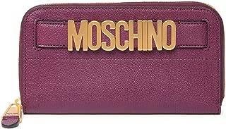 MOSCHINO Leather Zip Around Wallet Viola