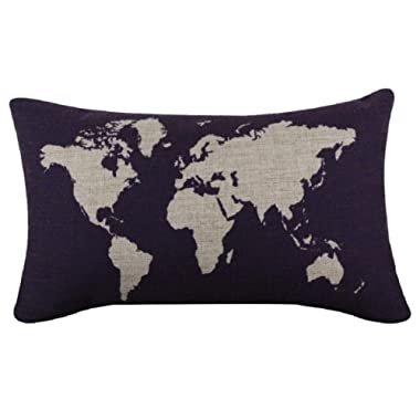 VESNIBA Dark Blue World Map Burlap Pillow Cases Cushion Covers