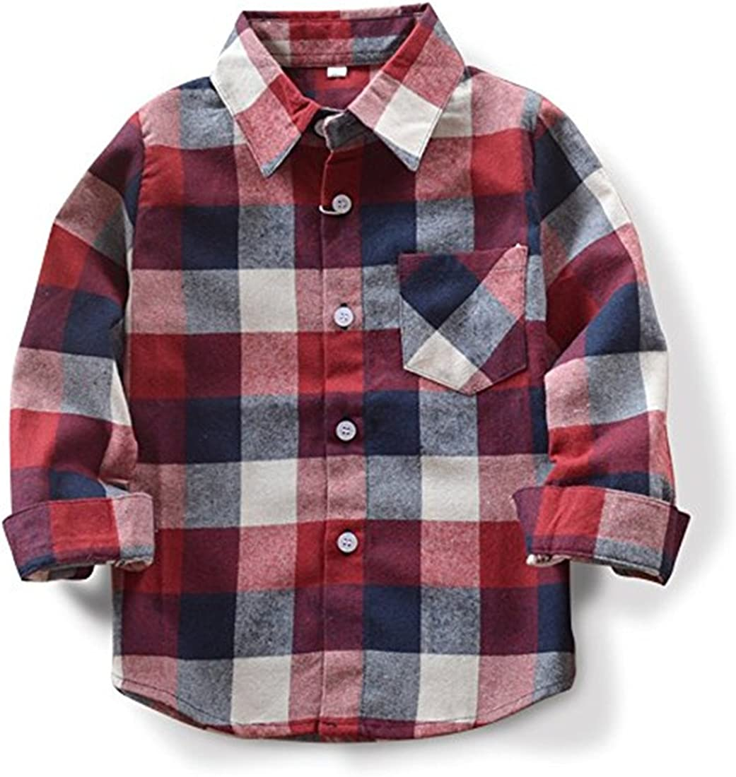 Baby Boys Girls Button Down Plaid Flannel Long Sleeve Shirt(2T-7T)