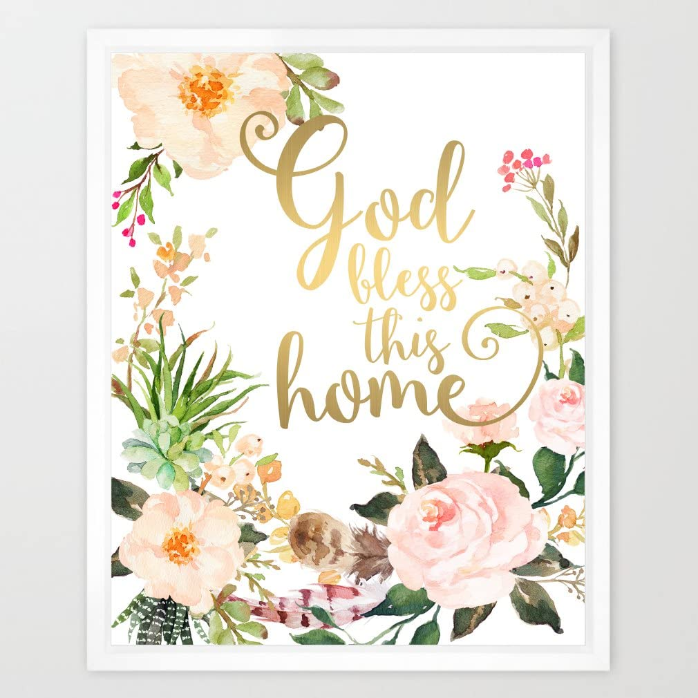 Eleville 8X10 God Bless This Home Real Gold Foil and Floral Watercolor Art Print(Unframed) Family Room Quote Wall Art Home Decor Home Quote Art New Housewarming Gift WG057