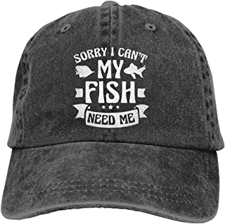 Yuanmeiju Gorra de Mezclilla My Fish Need Me Unisex Vintage Washed Distressed Baseball Cap Twill Adjustable Dad Hat
