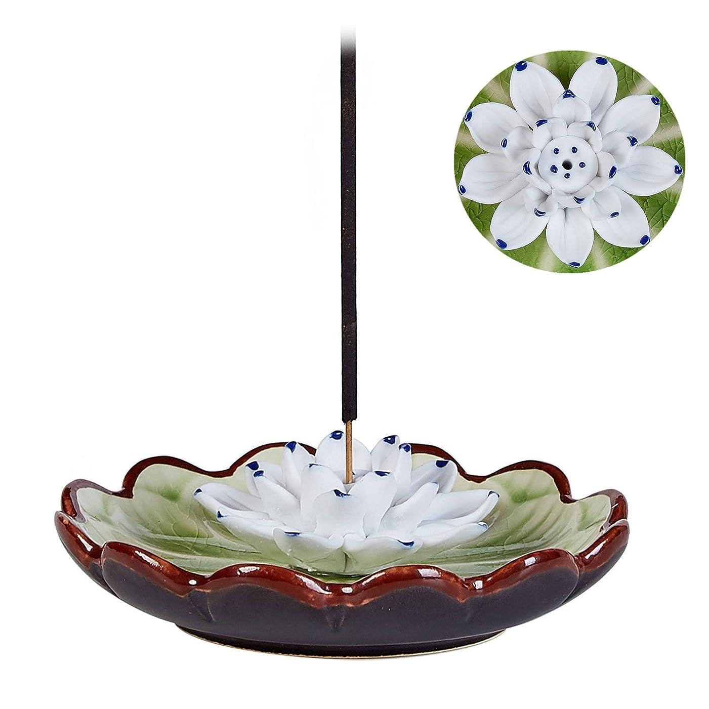 建設そうでなければゲインセイUoonお香スティックバーナーホルダー?–?ハンドメイドセラミックLotus Flower Incense Burner Bowl Ashキャッチャートレイプレート グリーン UOON-LotusF018