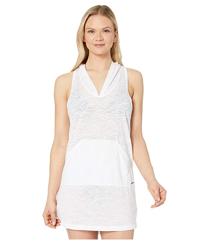 Nike  Geo Cover-Up Hooded Dress (White) Womens Swimwear
