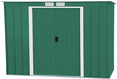 Duramax Eco Pent Roof 8 x 4 Hot-Dipped Galvanized Metal Garden Tool Storage Shed-Green with off-White Trimmings Capannone da Giardino in Metallo, Verde/Bianco Sporco