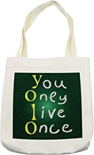 Ambesonne YOLO Tote Bag, School Board Theme Background with Chalk Style Meaningful Riveting Words, Cloth Linen Reusable Bag for Shopping Books Beach and More, 16.5