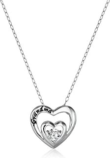 Sterling Silver AAA Cubic Zirconia Grandma Double Heart Pendant Necklace, 17.5