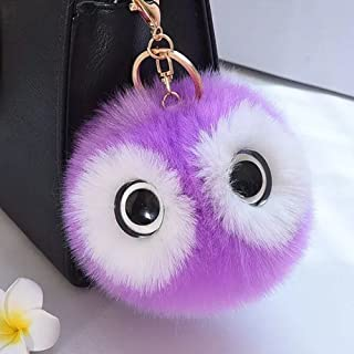 12cm Lovely Big Eyes Decorated Cute Imitate Rabbit Fur Key Chain for Car Key Ring Or Bags (Purple)