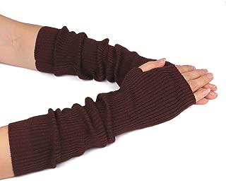Women Cozy Wool Knit Long Fingerless Gloves Arm Warmers with Finger Holes