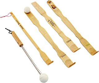 BambooMN 5 Piece Set - 4X Traditional Back Scratcher and Body Relaxation Massager Set Plus Free Travel Size Backscratcher for Itching Relief, 100% Natural Bamboo