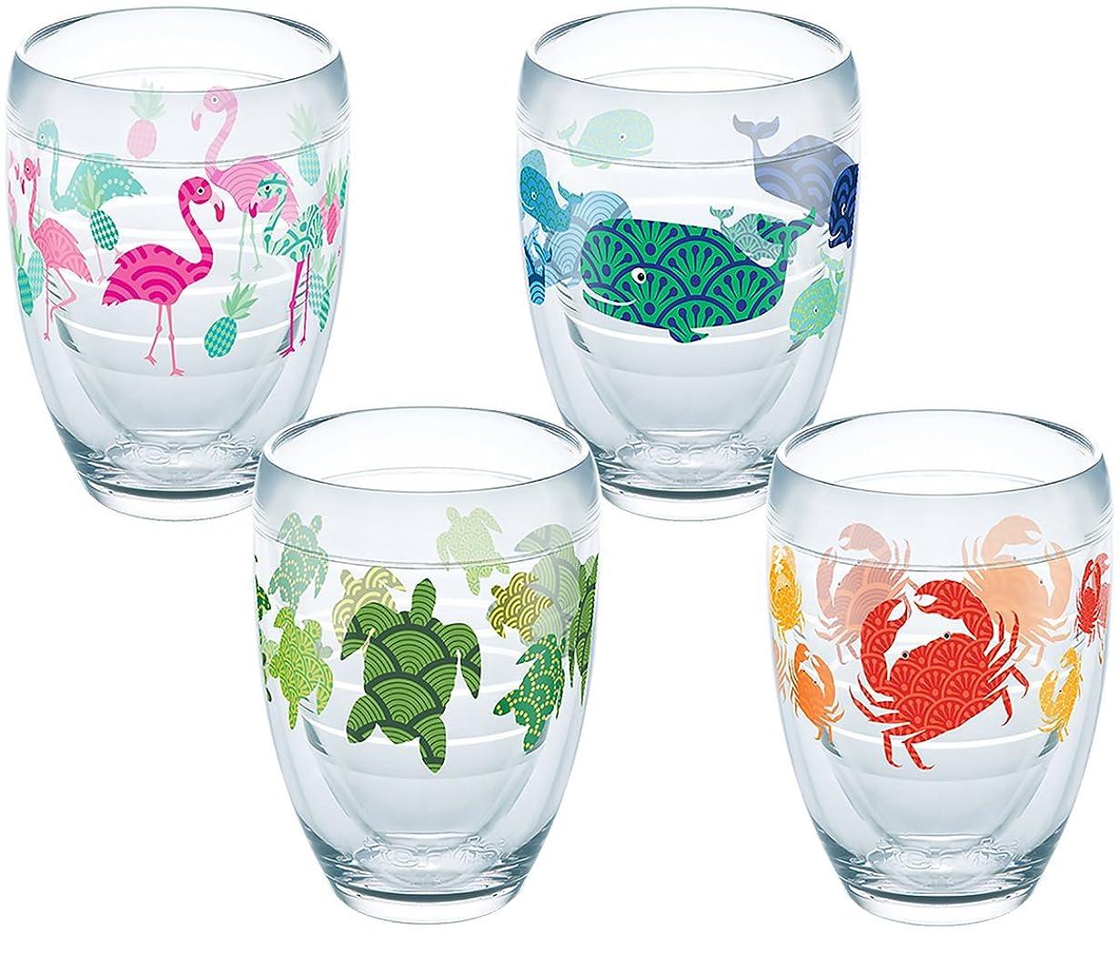 弱点部屋を掃除する控えめなTervis Tropicalのセット4?Stemless Wine Glasses 9 oz クリア