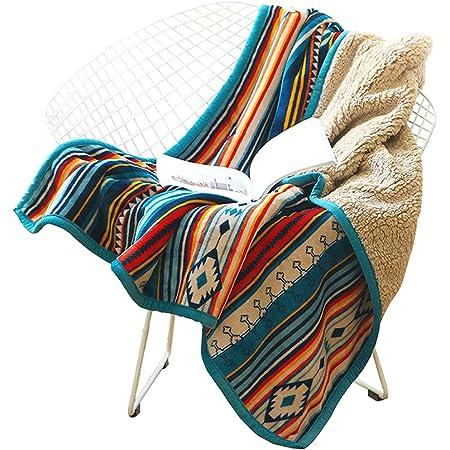 Hggzeg, coperta in pile di corallo, soffice e soffice, coperta calda da letto, motivo a righe, per camera da letto, soggiorno, ufficio, 127 x 152 cm (strisce colorate)