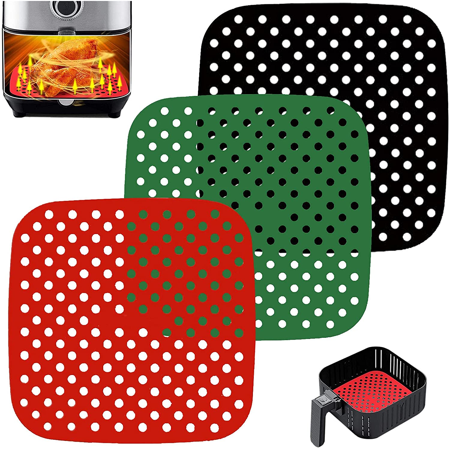 3 PCS Reusable Air Fryer Liners,Square Air Fryer Silicone Liners for Air Fryer Basket,Non-Stick Air Fryer Accessories Basket Mats Replacement for Parchment Paper, BPA Free. (Black Red Green, 8.5 in)