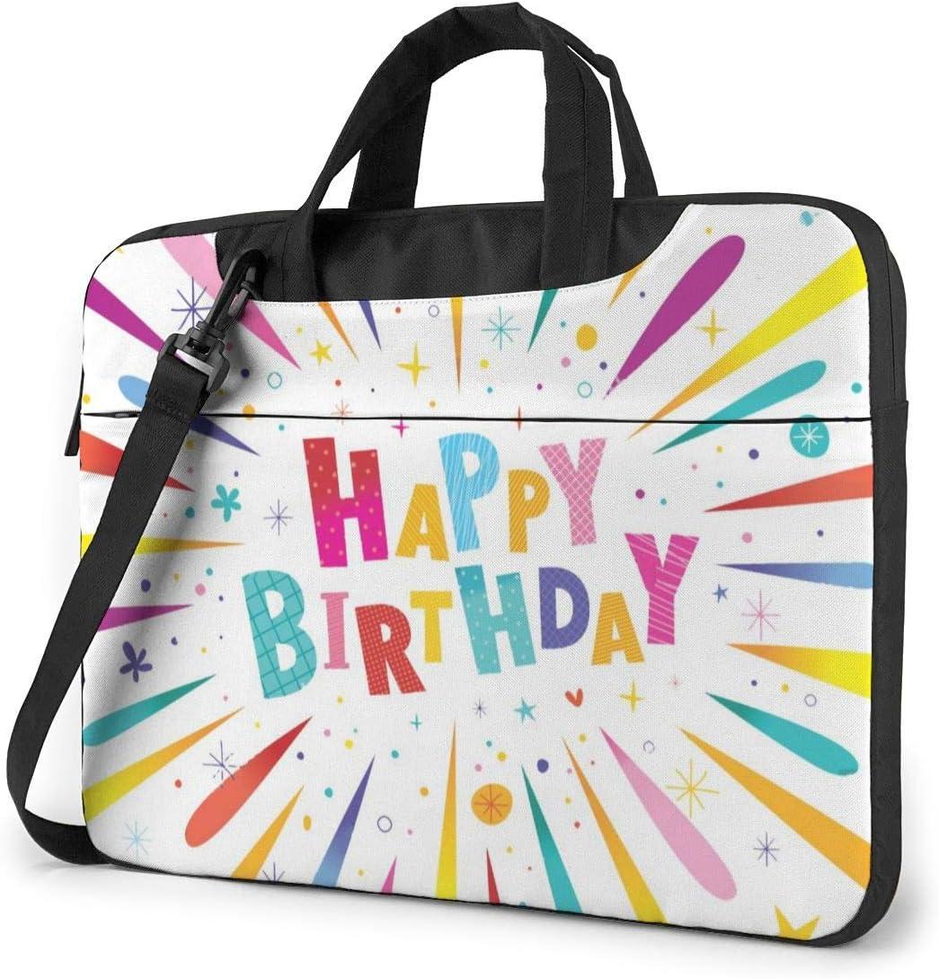 MATEH Happy Birthday Colorful Laptop Bag 15.6 Inch Shoulder Messenger Bag Computer Tote Briefcase for Work School